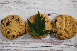 3 chocolate chip cannabis cookies with high effects of cannabis edibles