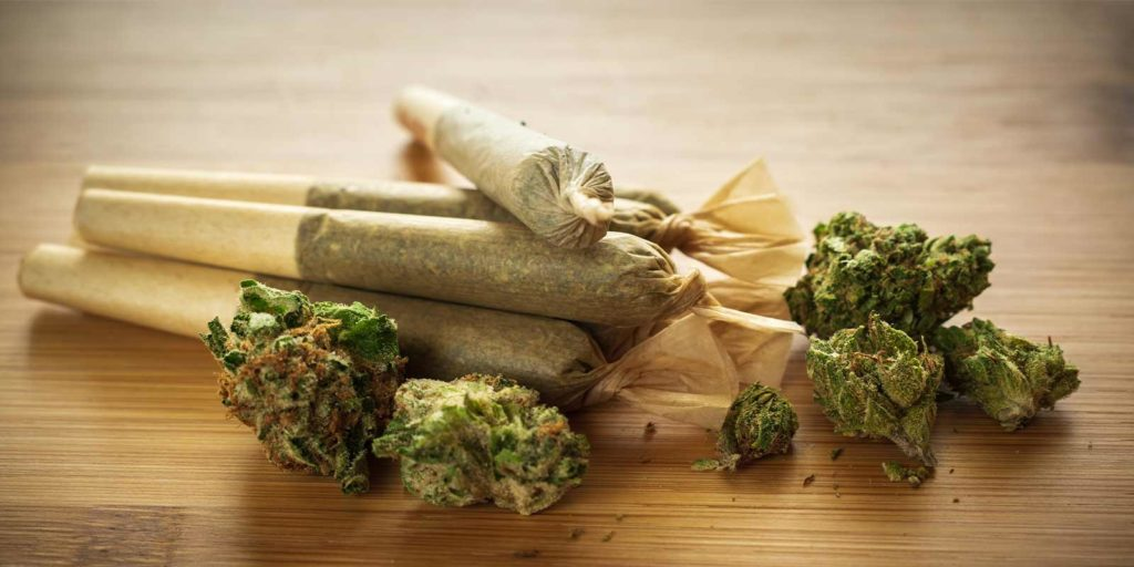 fresh pre rolled joints and cannabis nuggets shown on a table.jpg