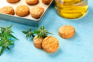 Cannabis Edibles on a table with the cannabis butter