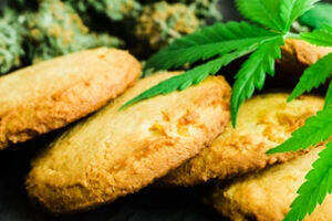 Cannabis edibles Cookies with Cannabis Leaves