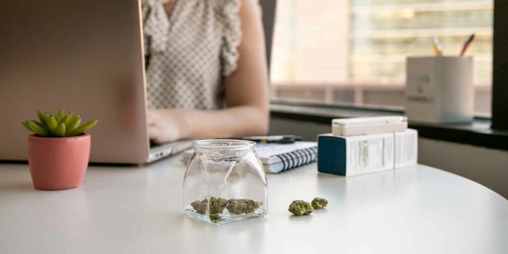 women in meeting about cannabis while at home